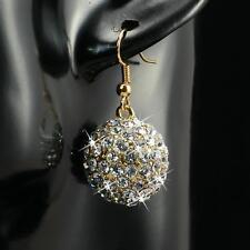 Boucles d'oreilles avec zircon cristal blanc 1,8cm Ø plaqué or 750 18 carats