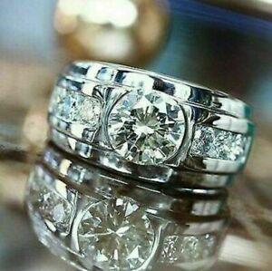Channel Set Men's Engagement Wedding Ring 1.95 Round Diamond 14K White Gold