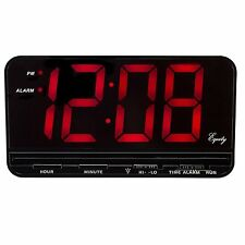 """Black Equity 3"""" Large Red LED Display Desk Digital Alarm Clock with Snooze New"""