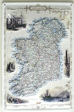 """An Ancient Map Of Ireland  8""""X12"""" Embossed Metal Sign"""