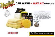 MEGUIARS NEW CAR KIT WASH & WAX CERA LIQUIDA IN MICROFIBRA ASCIUGAMANO & PADS TIRE GEL