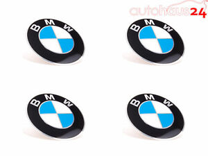 """BMW WHEEL CENTER CAP EMBLEM DECALS STICKERS 65MM OR 2.5"""" SET OF 4 GENUINE NEW OE"""