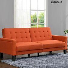 Sofa Living Family Room Futon Couch Bedroom Bed Sleeper Furniture Indoor Orange