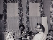 Vintage Antique Photograph Mom & Dad Looking At Baby With Napkin Dolie On Head