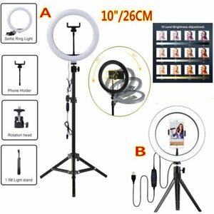 "10"" LED Ring Light Dimmable +Tripod Lighting Kit Phone Selfie Makeup Live Lamp"