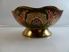 JERUSALEM Brass & Enamel Bowl Menorah Flowers Jewish