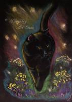 "Black Cat Pastel Artwork 5"" x 7"" Feline Animal Pet Flower Art Original by Artist"