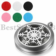 """Snowflake Essential Oil Diffuser Necklace Aromatherapy Locket Pendant w 18""""Chain"""