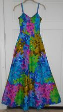Vintage DeWeese Design MOD Bright Floral Smocked Back Maxi Sun Dress 60's XS/S