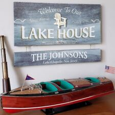 Lake House Wood Sign With Custom Personalization