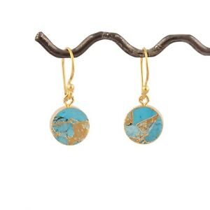 Natural Copper Turquoise Yellow Gold Electroplated Gemstone Drop Dangle Earrings