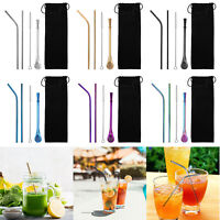 5pcs/Set Stainless Steel Reusable Drinking Bent Straws+Cleaning Brush Home Kit