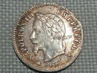 France Second Empire Napoleon III Laureate 20 Silver Centimes 1867 A Paris