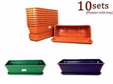 10x Home Garden Planter Pots Flower Pots Tray Rectangle Plastic Magic #4033