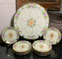 "c.1910 Prussia Beyer & Bock Hand Painted Signed 13"" Platter & 11 Dessert Plates"