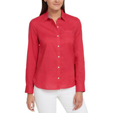 NWT Women Size XS or XL Tommy Hilfiger Classic Cotton Roll-Tab Button Down Shirt