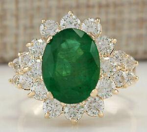 5.35 Carat Natural Emerald 14K Solid Yellow Gold Luxury Diamond Ring