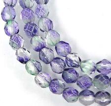 50 Firepolish Czech Glass Faceted Round Beads - Blueberry / Green Tea 4mm