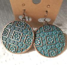 EARRINGS TRIBAL Bohemian Style, Copper disc droplet with  Verde Gris