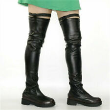 Black UK 8 Women Stretchy Thigh High Boots Over Knee Flat Heel Round Toe Boot