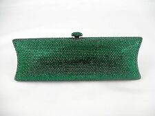 7735 Emerald green Crystal Oversized Evening purse clutch bag case FREE SHIPPING