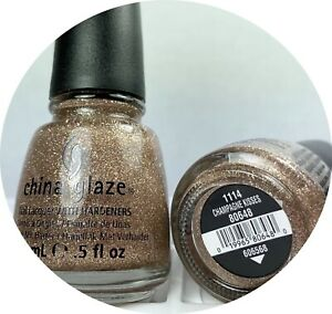 China Glaze Nail Polish CHAMPAGNE KISSES 1114 Sparkly Rose Gold Glitter Lacquer