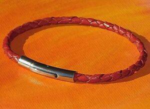 Mens / ladies 3mm Red braided leather & stainless steel bracelet by Lyme Bay Art