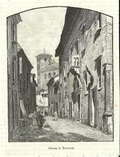 Stampa antica RAVENNA Scorcio di una strada Romagna 1892 Old antique print