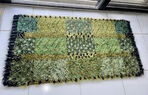 Marianne Richter Green Geometric MCM Rya Shag Rug or Wall Hanging Original Label