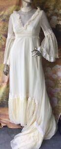 1970's Vintage Wedding Dress Buttermilk Nylon Lace Edwardian Gunne Sax Style S