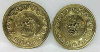 Pair Vintage Brass Round Wall Plates - Made in England - Horse Hounds Carriage