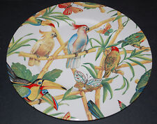 Made in Italy ~ Ceramic Chop Plate/Charger ~ Exotic Birds and Butterflies 12 1/4