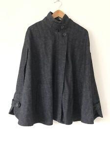 Poetry Wool Blend Cape Size S Grey Herringbone Tweed Poncho Layer Country