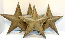 "Set of 4 ~ 8"" Metal Tin Stars. Apples, Farm House, Primitive Country Decor"