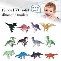 12Pcs Educational Dinosaurs Toys Set Stegosaurus Ceratosaurus Kids Solid