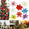 10X Christmas Large Poinsettia Glitter Flower Tree Hanging Party Decoration DIY