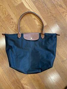 Longchamp Le Pliage 1899 Nylon Tote Handbag Shoulder Bag Size Large Black