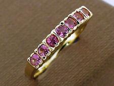 R136 Genuine 9K Gold Natural Pink Tourmaline Ring Anniversary Stackable Wedding