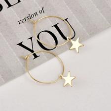 Women's Fashion Jewelry Gold & Silver Star Hoop Circle Geometric Earrings 73-9