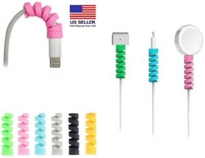 24 Ps Charging Cable Protector Soft Silicone Spiral Phone USB Charger Cord Saver