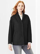 NWT GAP Black Wool Blend FALL Dropped Shoulder Coat Oversized Jacket M  Medium