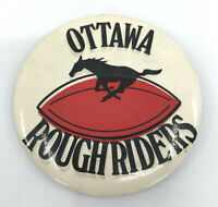 CFL Football PinBack Button Ottawa Roughriders 1980s Horse Logo Vintage