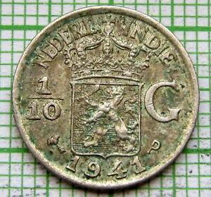 NETHERLANDS EAST INDIES INDONESIA WILHELMINA 1941 P 1/10 GULDEN 10 CENTS SILVER