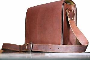 Unisex Handmade Distressed Goat Leather Messenger Shoulder Cross Body Laptop Bag
