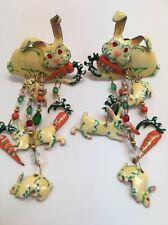 LUNCH AT THE RITZ 'Rabbit, Bunnies' Vintage Enamel Earrings