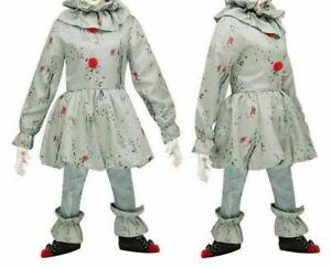 Kids Girls Crazy Clown Costume Outfit Children Pennywise Fancy Dress Halloween