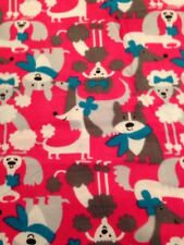 Preppy Pups Snuggle Cotton Flannel Fabric - Dogs on a hot pink background