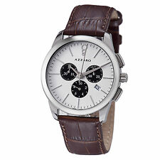Azzaro Men's Legend White Dial Leather Strap Chronograph Watch AZ2040.13AH.000