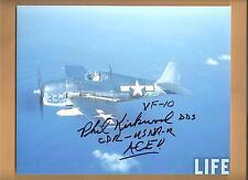 """Philip Kirkwood """"Ace Hellcat Pilot"""" 12 Kills Autographed 8x10 Picture Autograph"""