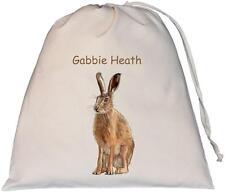 Personalised - Hare Design - Large Natural Cotton Drawstring Bag